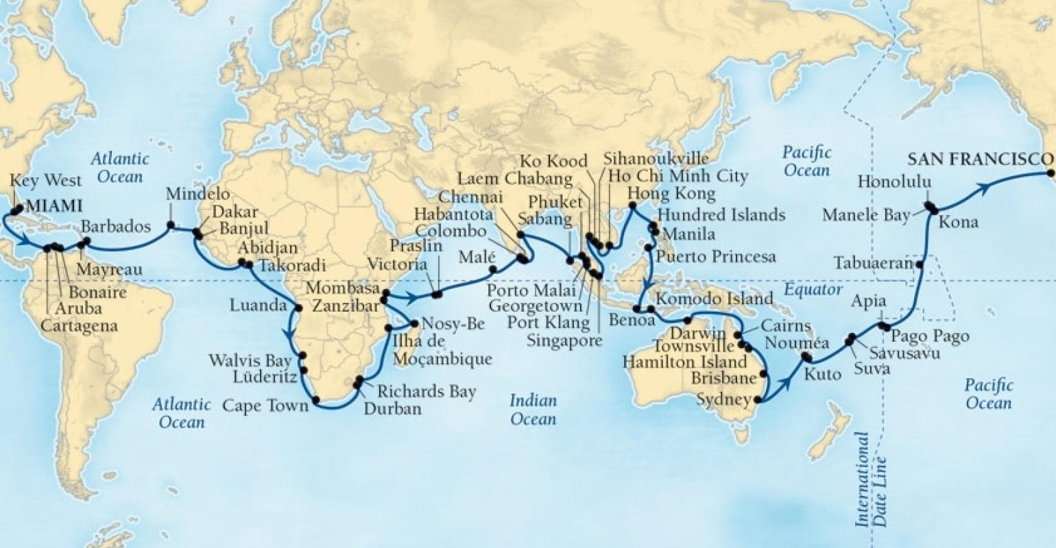 Seabourn\'s 2020 world cruise: 62 ports in 146 days ...