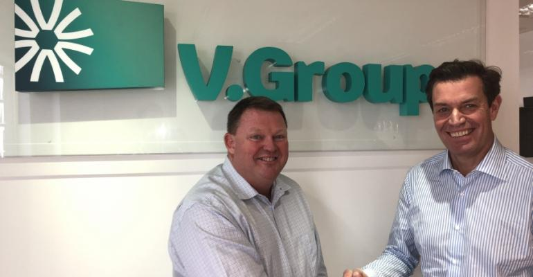 Per Bjornsen, director, V.Ships Leisure (right) and Tim Davey, md of the combined Marine Travel operations at V.Group