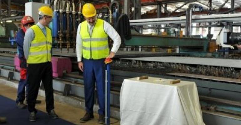 Seabourn Venture 1st steel cut