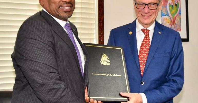 bahamas prime minister hubert minnis and carnival corp.'s giora israel