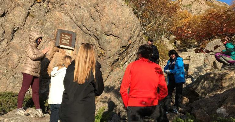 Delegates climbing Torghatten mountainlow