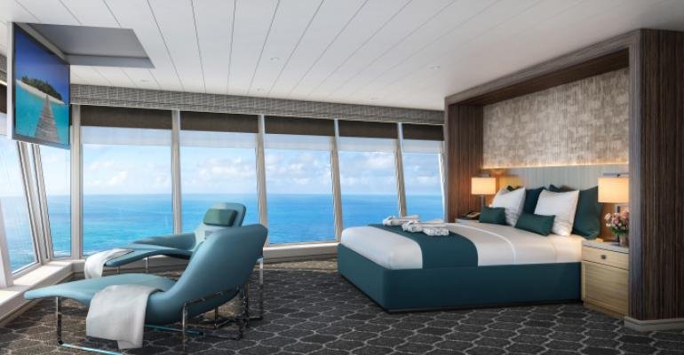oasis of the seas' ultimate panoramic suite bedroom